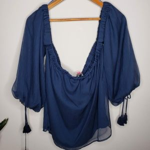 Vince Camuto Tops - Vince Camuto NWT Off-The-Shoulder Tassel Top